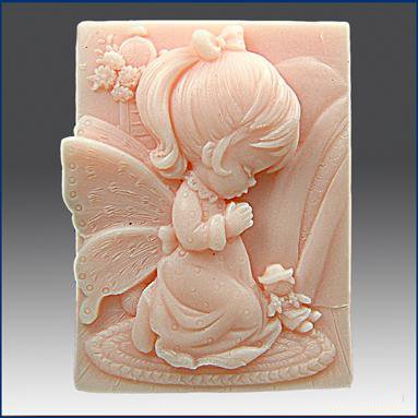 Pinkie Tm angel girl praying Handmade soap silicone mold , candle mould moulds,wholesale ()