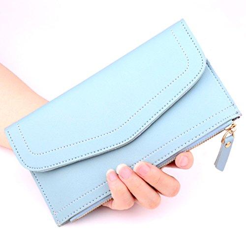 Katech Fashion sintética Smartphone de piel tipo bolso estudiante bolsa de embrague titular de la tarjeta organizador Monedero Lake blue