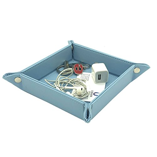 UnionBasic Fully PU Leather Bedside Storage Tray - Jewelry Catchall Key Phone Coin Tray Change Caddy Storage Organizer (Blue)
