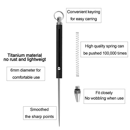 InsWork Portable Retractable Titanium Toothpick Keychain Outdoor Spring Telescopic Toothpick Holder for Teeth