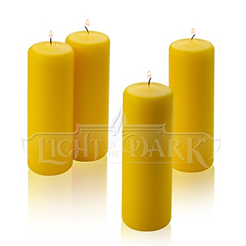 (Citronella Pillar Candle - Set of 4 Summer Scented Yellow Citronella Candles - 6 inch Tall, 2 inch Thick - 36 Hour Burn Time for Indoor/Outdoor Use - Made in USA)