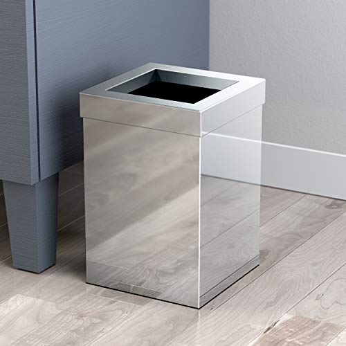 - Gatco 1913 Modern Waste Basket Bathroom, Kitchen, Office Trash Bin, Square, Chrome