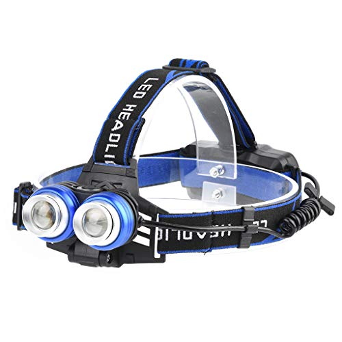 Intelligent Light Sense Headlamp Head-Mounted Glare Rechargeable Headlight 2T6 with 360° Adjustable Angle Head 5 Modes Zoomable Headlight Waterproof C