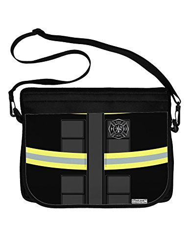 TooLoud Firefighter Black AOP Neoprene Laptop Shoulder Bag All Over Print by TooLoud