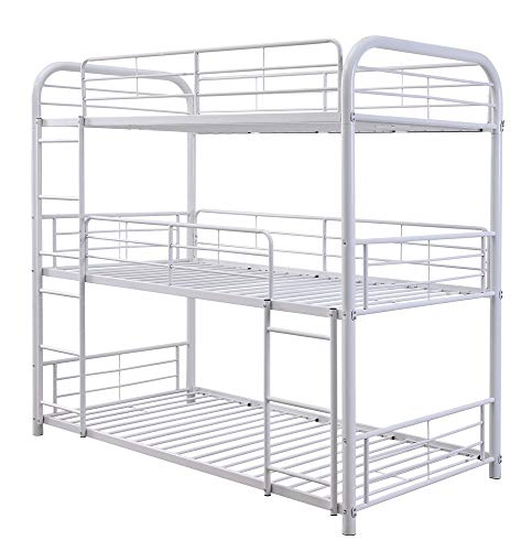 ACME Furniture Cairo Triple Twin Bunk Bed, White (Coaster Twin Over Twin Convertible Loft Bunk Bed)