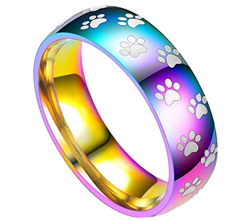 - BUNFIREs 1PC Rainbow Color Stainless Steel Ring Pet Paw Print Dog Cat Band for Women Men (11)