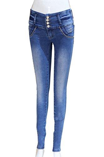 ZARINA®Pantalon vaquero de mujer,Push up / Levanta cola,Pantalones elásticos colombiano 1325,color azul con talla XS-XXXL Azul