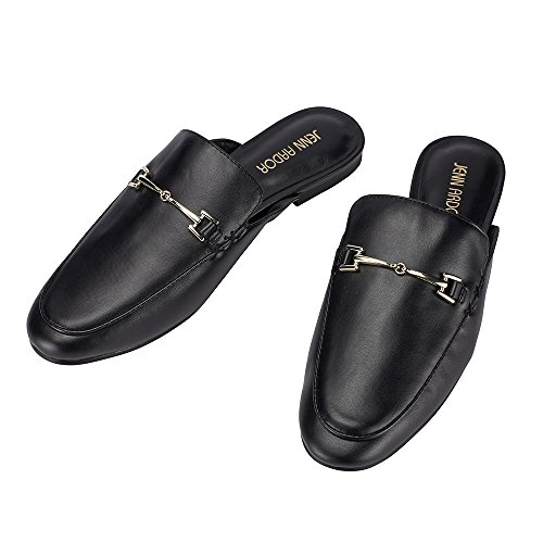 JENN ARDOR Womens Mule Flats Shoes Pointed Toe Backless Slipper Slip On Loafer Shoes Black