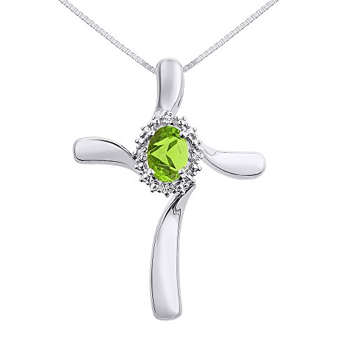 Diamond & Peridot Cross Pendant Necklace Set In Sterling Silver .925 by Rylos