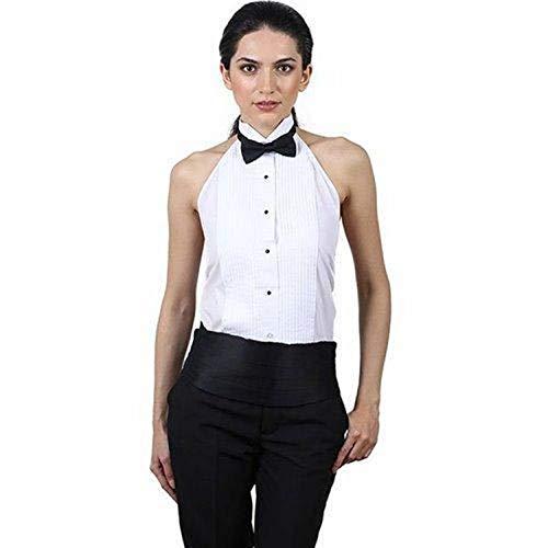 Women's White Tuxedo Halter Shirt and Black Bow Tie Set(S (6-8)) -