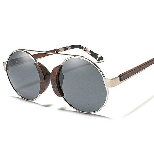 sol protección Hombres para unisex UV metálico sol mujeres Classic Gafas de de las sol de de marco de de polarizadas de sol de vendimia conduc de Gris Retro la redondo Gafas madera sol Gafas Gafas gafas de EqCz77