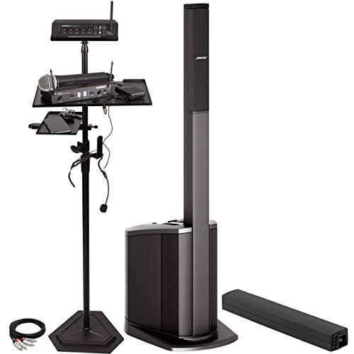 (Bose L1 Compact Wireless System Bundle with Samson Concert 288 All-In-One Wireless Microphone System, Samson-SM4 Channel Mixer and Mic Stand Accessories- Portable Bluetooth PA System (9 Items))