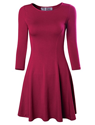 Tom's Ware Women's Casual Slim Fit and Flare Round Neckline Dress TWCWD052-HOTPINK-US S/M(Tag Size M)