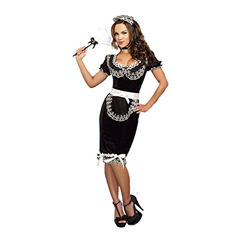 Dreamgirl Women's Keep It Clean Costume, Black, Small (Womens Sexy French Maid Costume)