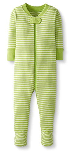 - Moon and Back by Hanna Andersson Baby/ Toddler One-Piece Organic Cotton Footed Pajama, Lime Green, 3T