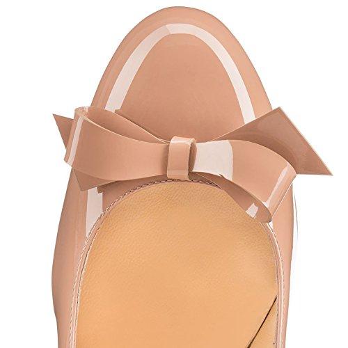Arc-en-Ciel Las bombas del arco de las mujeres zapatos de charol de tacón alto del dedo del pie redondo Nude