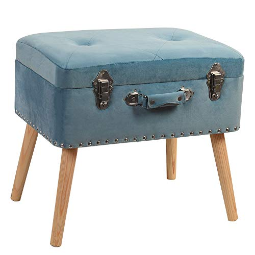 Sundale Indoor Rectangular Storage Stool Multi-function Organizer with Carrying Handle Storage Box Padded Seat Home Ottoman Footrest Stool with Wooden Legs, Blue