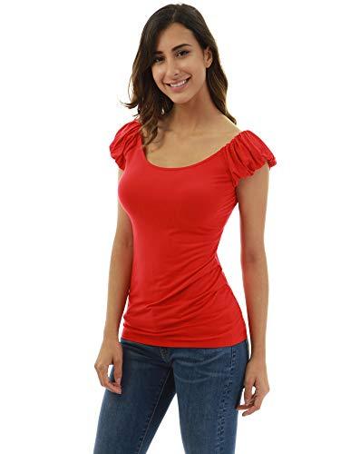 PattyBoutik Women Boatneck Puff Sleeveless Blouse (Red X-Small)