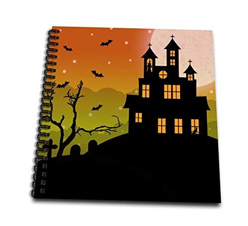 3dRose Janna Salak Designs Halloween - Halloween Haunted House and Graveyard - Drawing Book 8 x 8 inch -