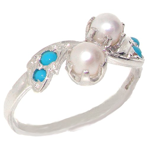 925 Sterling Silver Cultured Pearl and Turquoise Womens Band Ring - Sizes 4 to 12 Available (Cultured Pearl Turquoise Ring)