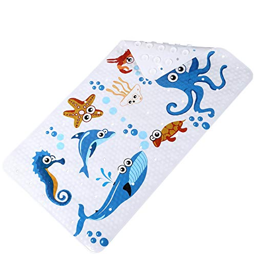 Kids Bathtub mat Children Bathroom Non Slip mat with Super Soft Surface Sturdy Suction Cup Anti-Bacterial Bathtub Mat Bathroom Accessories (39 x 71cm, No.Three Seabed World)