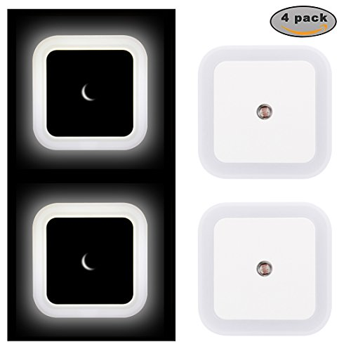 Plug-in Night Light 0.5W Energy Saving LED Light with Dusk to Dawn Sensor for Hallway, Bedroom, Bathroom, Kitchen, Stairs, Compack Size, 4-Pack