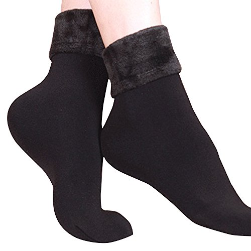 ☀☀ Maonet Clearance Women Socks Wool Cashmere Cotton Thicken Thermal Soft Solid Winter Casual Socks (Black)