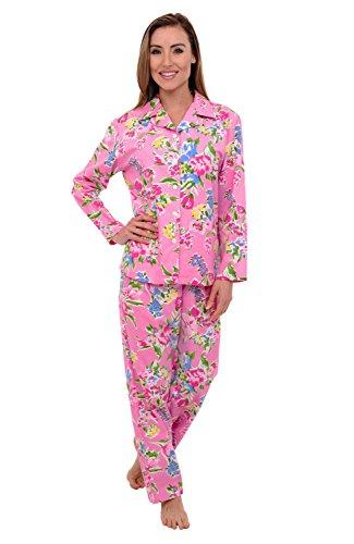 - Alexander Del Rossa Women's Lightweight Button Down Pajama Set, Long Cotton Pjs, Small Flowers on Pink (A0517Q14SM)