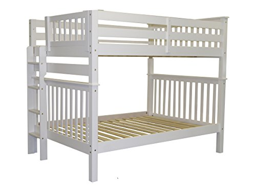 Bedz King Bunk Beds Full over Full Mission Style with End Ladder, White
