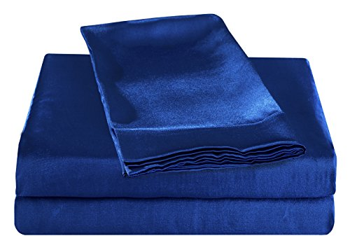 HONEYMOON HOME FASHIONS Ultra Luxury and Soft Satin Queen Bed Sheet Set - Blue