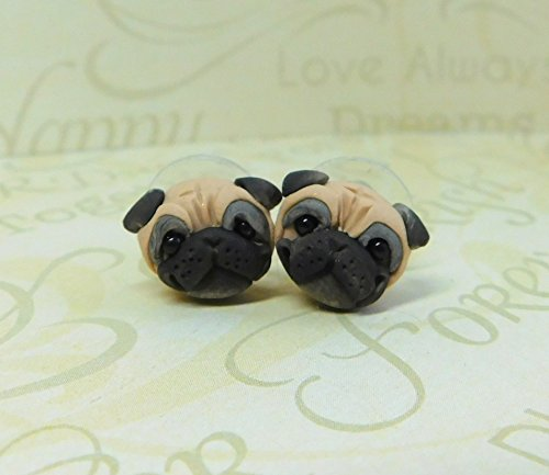 Pug Earrings, Fawn Pug Sculpture earrings, Pug gift, Pug post back earrings by Raquel at theWRC clay dog art