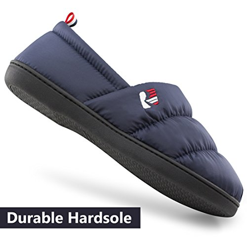 Pictures of RockDove Men's Down Memory Foam Slippers Navy Blue 2