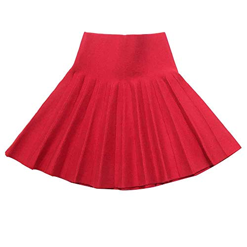 Girls High Waist Knitted Flared Pleated Skater Skirt Casual Mini Skirt Red Tag 110 (2-3 Years)