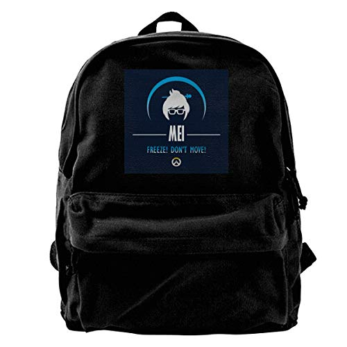 MIJUGGH Canvas Backpack Mei Freeze Dont Move Ov-erwatch Rucksack Gym Hiking Laptop Shoulder Bag Daypack for Men Women