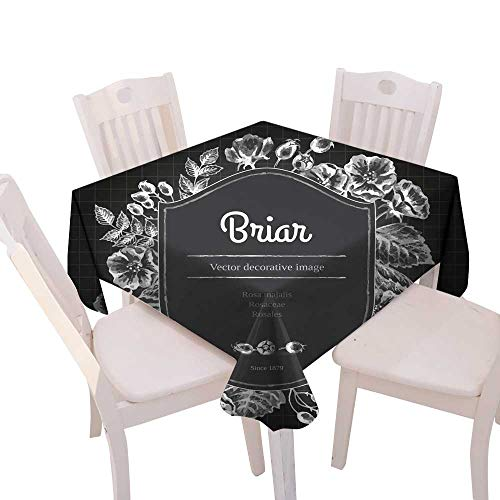 longbuyer Dinning Tabletop Decoration Label Template with Briar Chalk on Blackboard Square Tablecloth W 50