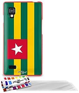 """Carcasa Flexible Ultra-Slim LG OPTIMUS L9 de exclusivo motivo [Bandera Togo ] [Roja] de MUZZANO  + 3 Pelliculas de Pantalla """"UltraClear"""" + ESTILETE y PAÑO MUZZANO REGALADOS - La Protección Antigolpes ULTIMA, ELEGANTE Y DURADERA para su LG OPTIMUS L9"""