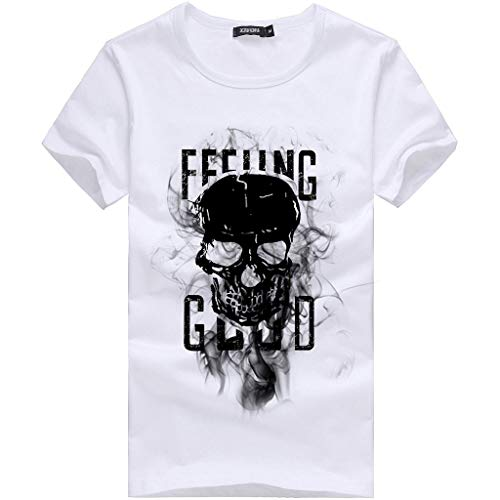 YOMXL Men Skull Art Graphic Halloween T-Shirt Feeling Good Letter Printed Short Sleeve Tee Tops White -