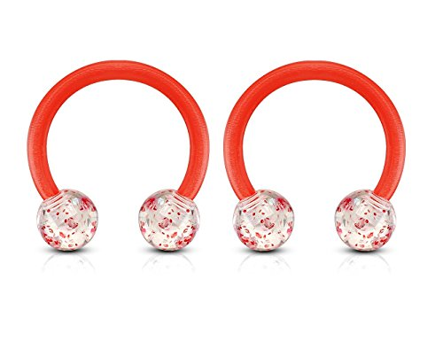 Ultra Glitter Acrylic Ball End Flexible Circular Barbell Sold as a Pair (Red)