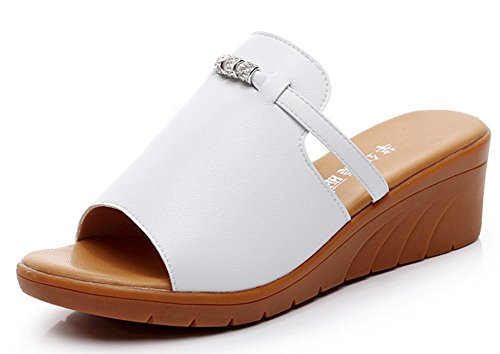 Blanc Ouvert Bout Femme Mode A Easemax Enfiler Mules f4TxFT