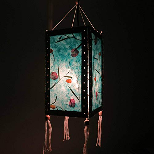 12'' Hanging Paper Lampshade Lantern made of Saa Paper, Light Lamp Shades for Wedding, Birthday Party, Home Decor (Blue) by Thai Natural Goods