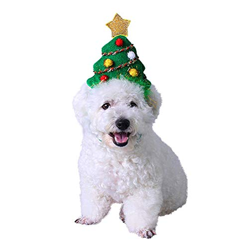 Loggipet Pet Christmas Headband Costume Tree with Adjustable Elastic Bungee for Cats Dogs