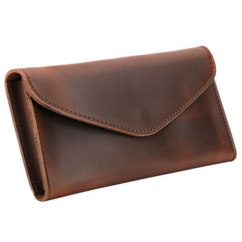 Leather Envelope Wallet - Plinrise Vintage Leather Long Metal Button Wallet, 5.5