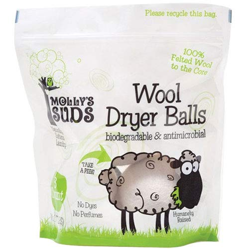 Molly's Suds Wool Dryer Balls (set of 3) - Natural Fabric Softener, Reduce Drying Time, Reusable, Chemical Free, ()