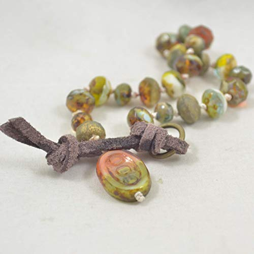 (Bohemian Hand Knotted Czech Glass Bracelet with Handmade Clasp)