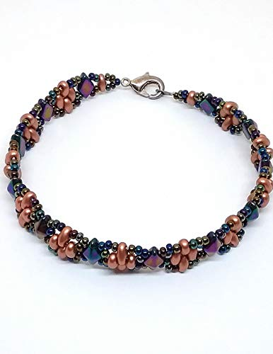 Carnival Purple Iris and copper-tone Czech glass beaded bracelet. 7 1/2 inches.