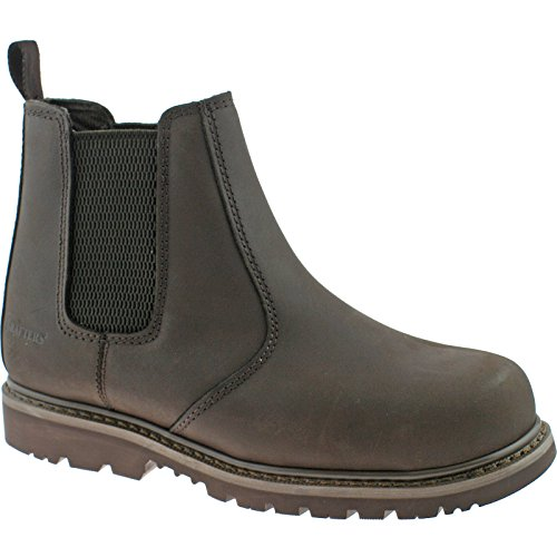 Grafters 539 Mens Safety Chelsea Boots In Brown, Size: 4