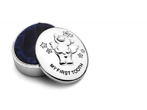 Versilberte Bärchen Zahndose mit Wunsch-Gravur von Geschenkbox® k/a