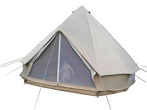 Qexan 5X5M Bell Tent for 10 persons with Zipped in Groundsheet (Beige color)