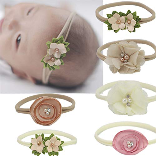 Qandsweet Baby Headbands Rubber Band with Hand Sewing Beads Flower 6 Pack ()