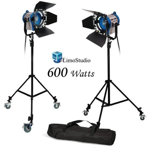 LimoStudio 600 Watt Photo Studio, Photography, Video, Tungsten Fresnel Lighting Spotlight Kit, AGG1032 (Fresnel Spotlight)